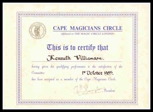 Membership certificate of the Cape Magicians Circle.