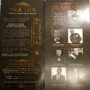 Cape Town Magic Club programme